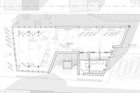 Neubau Wohn und Geschäftshaus, Grundriss Erdgeschoss