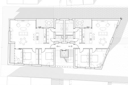 Neubau Wohn und Geschäftshaus, Grundriss 1. Obergeschoss