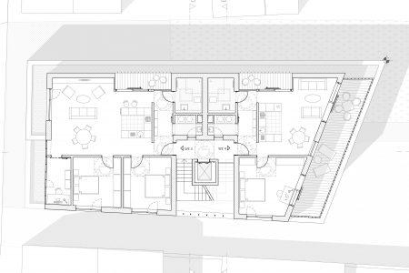 Neubau Wohn und Geschäftshaus, Grundriss 2. Obergeschoss