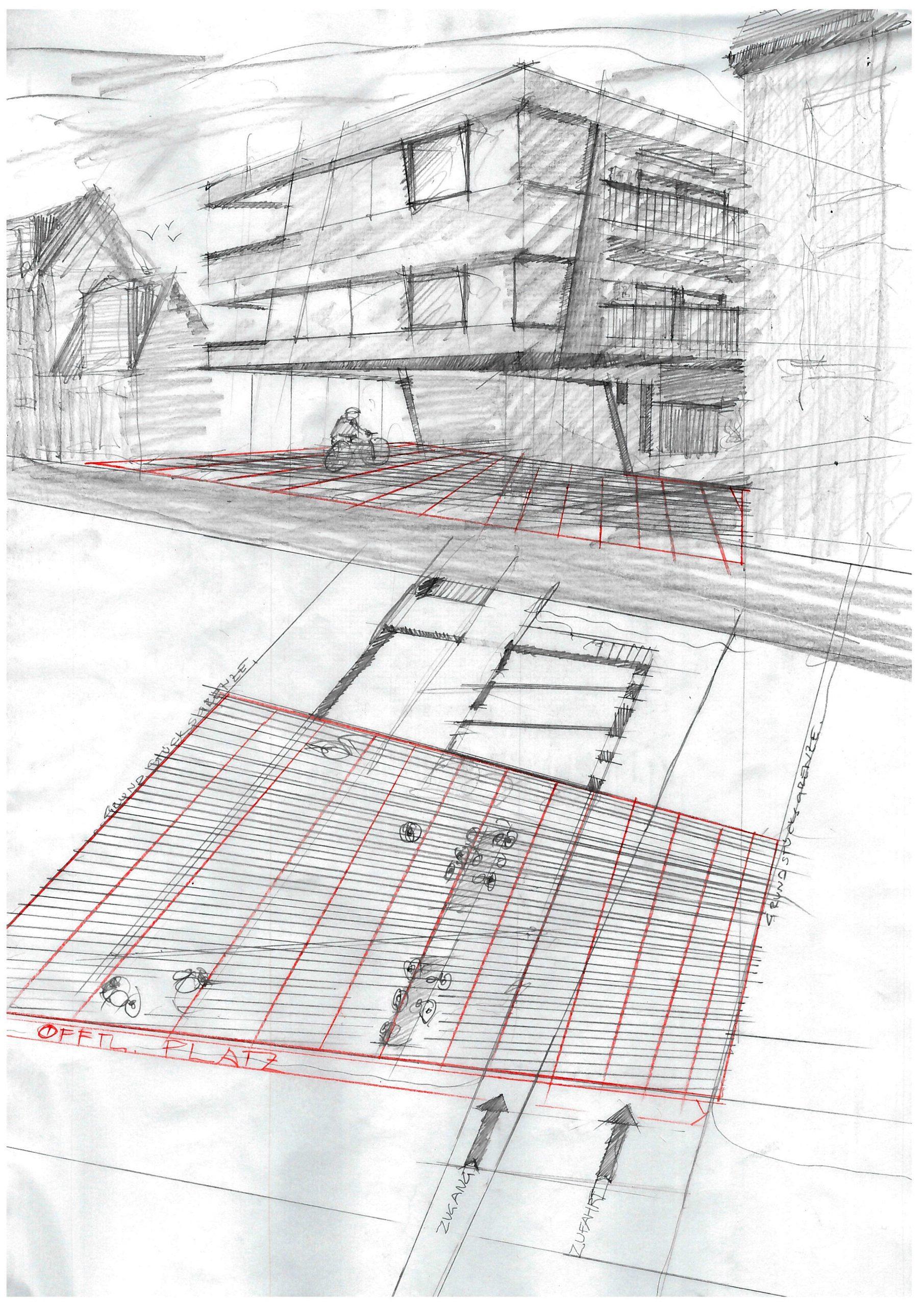 Neubau Wohn und Geschäftshaus, Konzeptskizze
