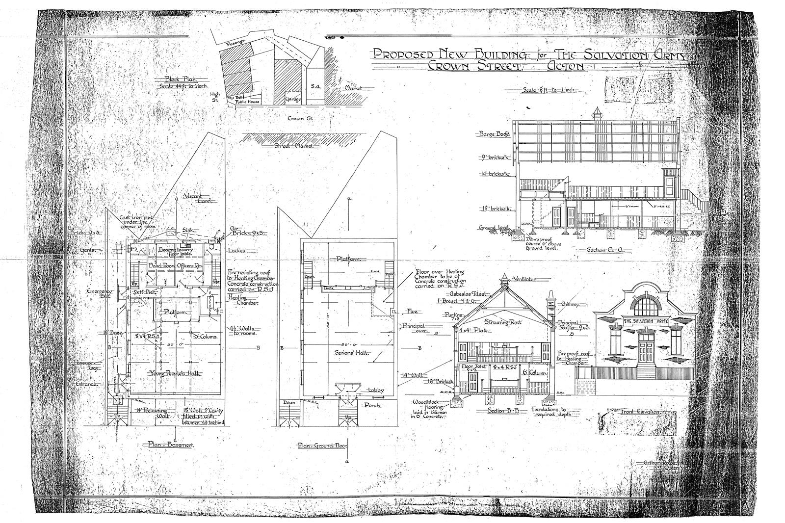 historic draiwng of Salvation Army Acton
