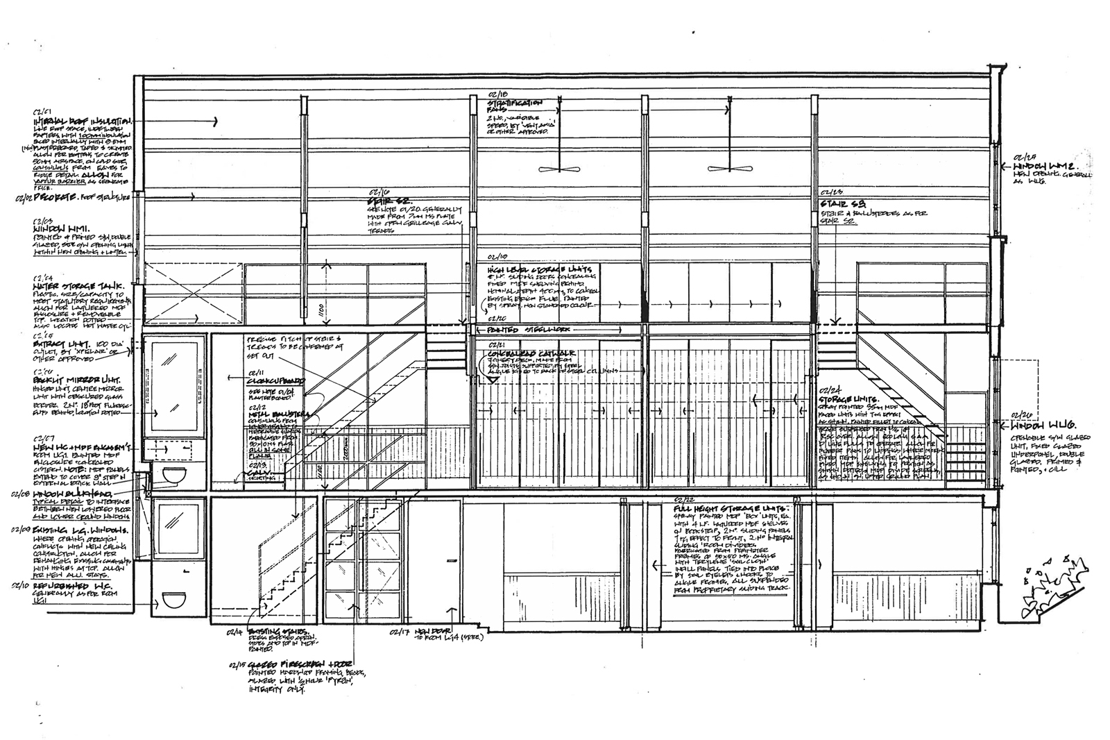 section drawing showing animation studio