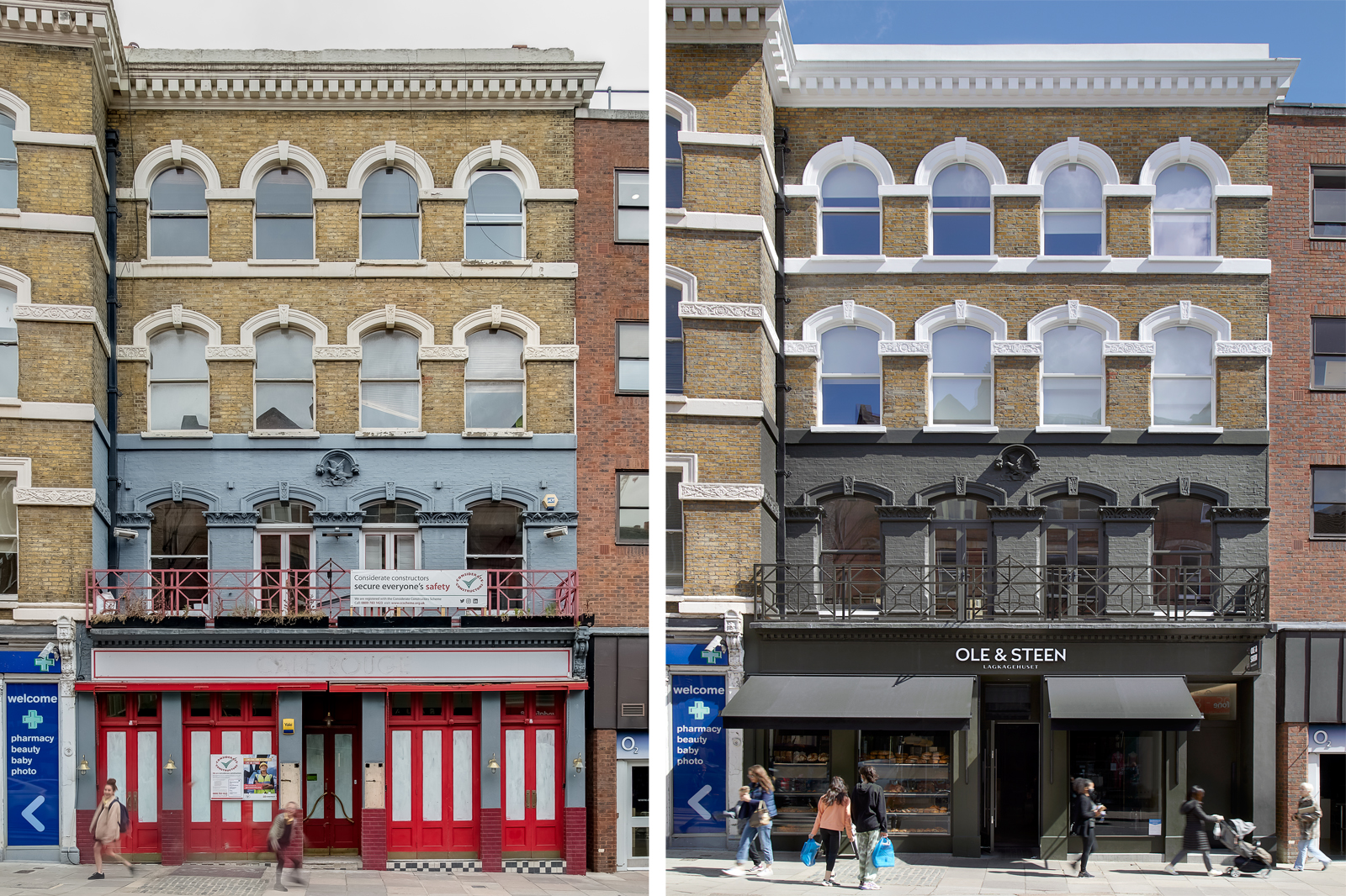 The Bird in Hand Hampstead: front facade before and after