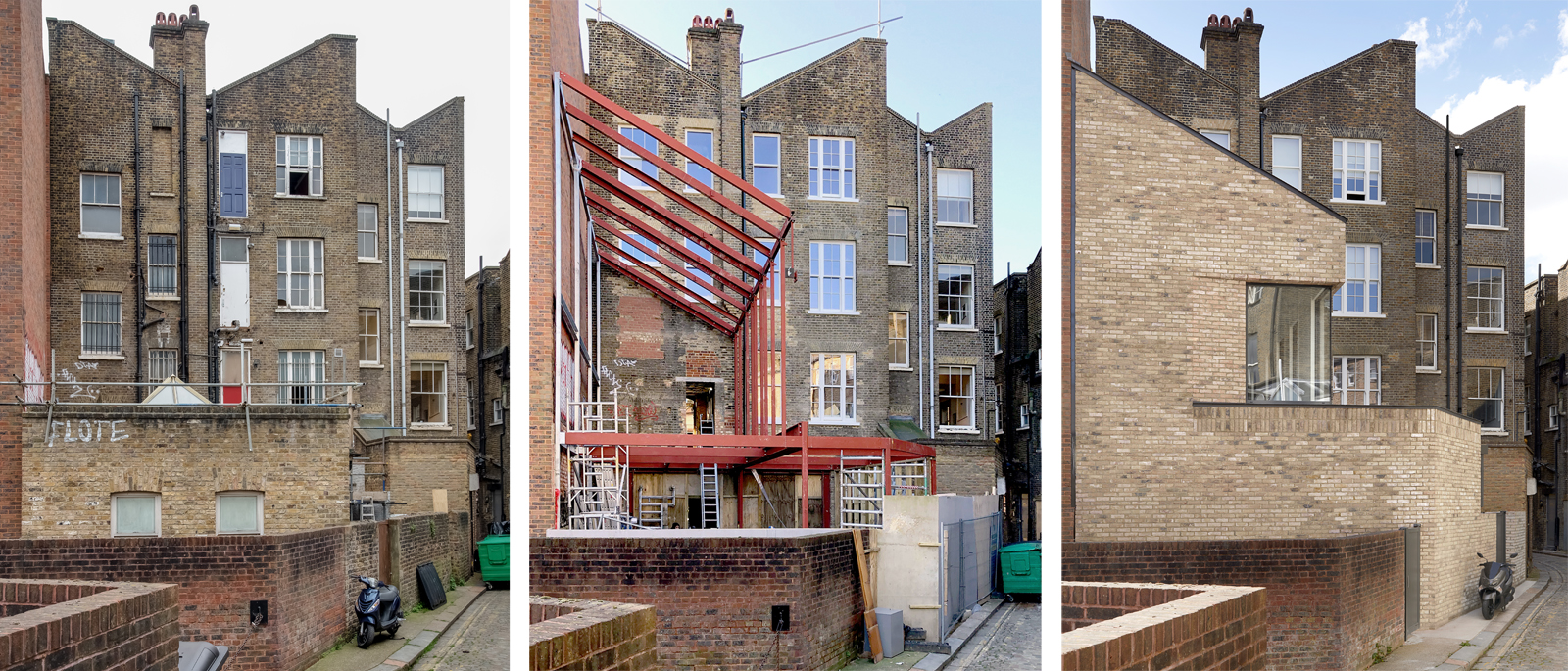 The Bird in Hand Hampstead: rear facade before and after