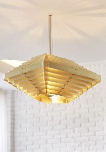 Converted Garage: bespoke brass chandelier