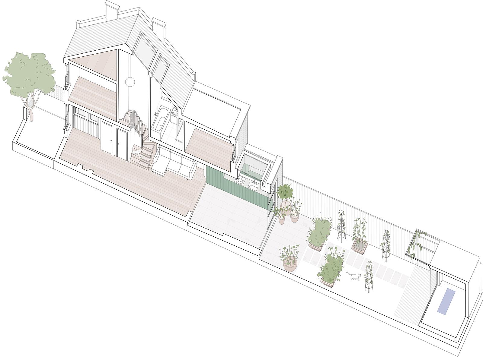 South London Cottage: axonometric drawing